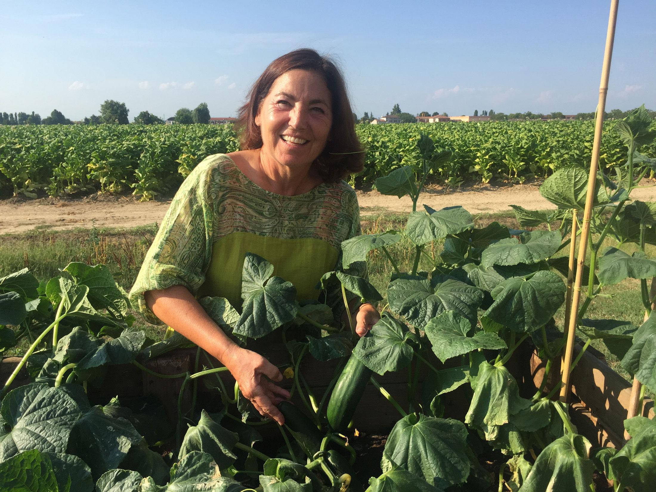 Giuliana raccoglie i frutti dell'orto biologico